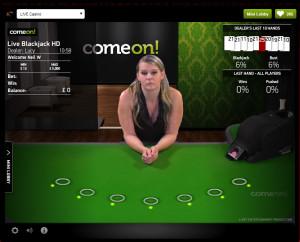 comeon Live Blackjack - 7 Seat