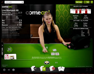 ComeOn Live Blackjack - Common Draw
