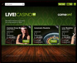 ComeOn Live Blackjack - Lobby
