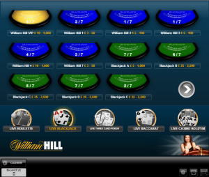 Williamm Hill Live Blackjack - Evolution lobby