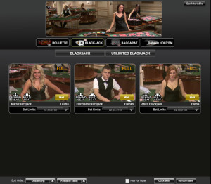 William Hill Live Blackjack - Playtech Lobby
